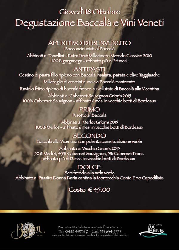 degustazione baccala vini Veneti 2018