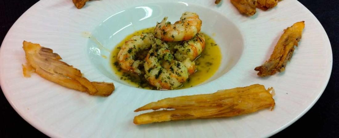 Mazzancolle sfumate al Brandy e Radicchio di Treviso in tempura